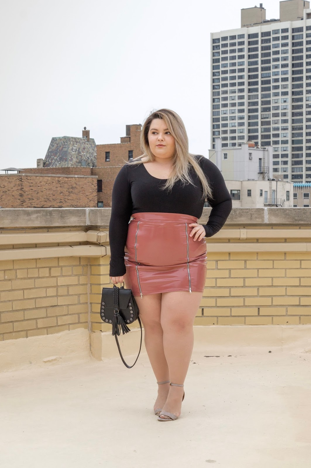 natalie in the city, Chicago fashion blogger, plus size fashion blogger, Chicago style, natalie craig, latex plus size skirt, plus size leather skirt, zipper skirt, plus size body suits, pretty little thing, affordable plus size fashion, embrace your curves, eff your beauty standards, plus model magazine