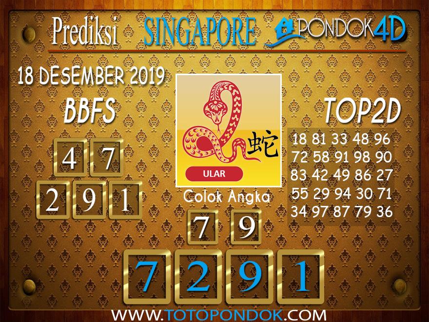 Prediksi Togel SINGAPORE PONDOK4D 18 DESEMBER 2019