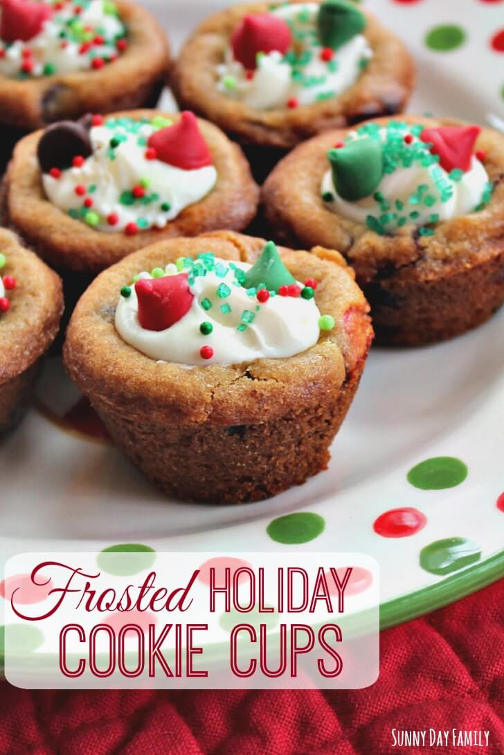 Easy Frosted Holiday Cookie Cups! Use refrigerated cookie dough to make these delicious treats for your Christmas party or a plate for Santa! Fun to make and decorate - your family will love them!