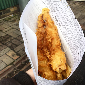newspaper cone of fish and chips