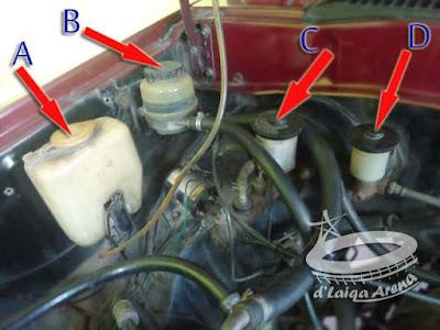 tabung air wiper (A), tabung minyak power steering (B), tabung minyak rem (C), tabung minyak kopling (D)