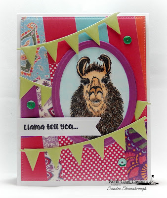 North Coast Creations Stamp Set: Llama Tell You, ODBD Custom Dies:  Ovals, Pennant Row, Pennant Flags, Pierced Rectangles, Paper Collection: Sweet Shoppe, ODBD Paper Collections:  Boho Bolds, Beautiful Boho