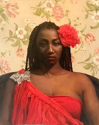 black woman portrait, original oil painting