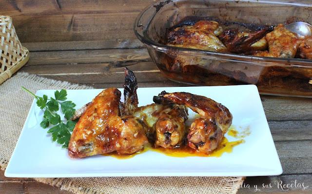 Alitas con salsa barbacoa casera. Julia y sus recetas