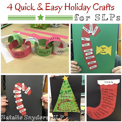 4 Quick and Easy Holiday Crafts for Speech Language Therapy