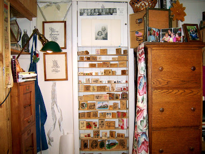 wood file cabinets and rubber stamps