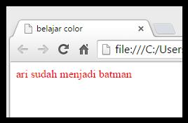 mengubah warna text dengan atribut color pada html