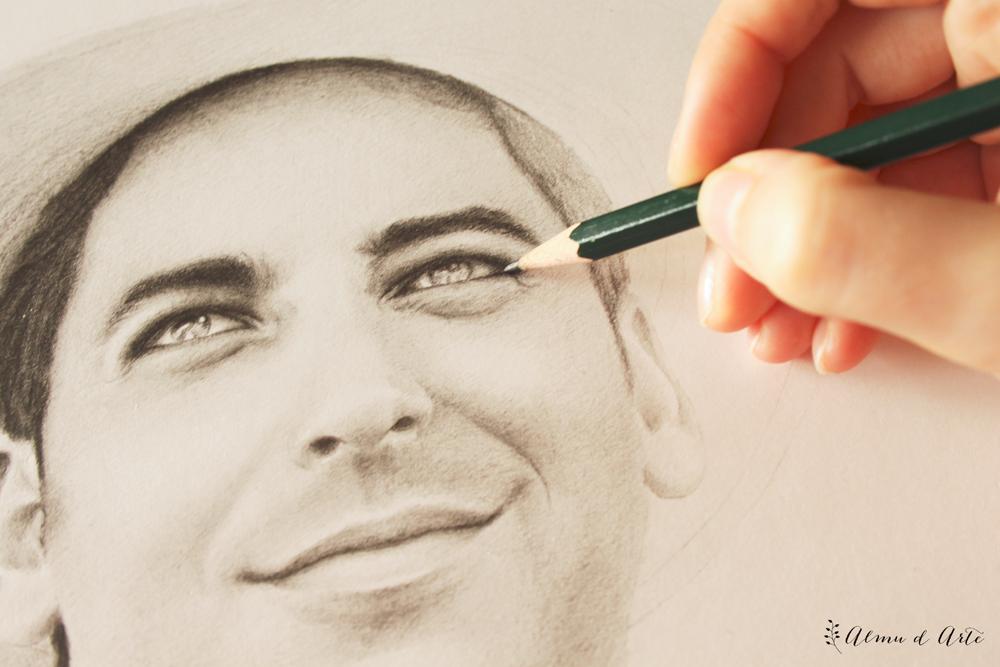 Retrato masculino a lápiz sobre papel