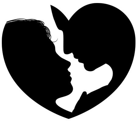Couple silhouettes in a heart