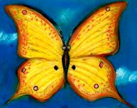 Dibujo de una mariposa color amarillo