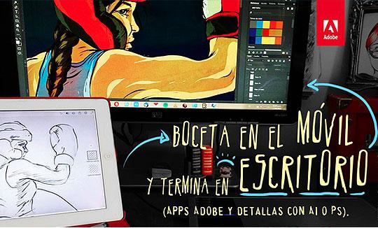 Clase Adobe online gratis. Boceta en el móvil y termina en el escritorio