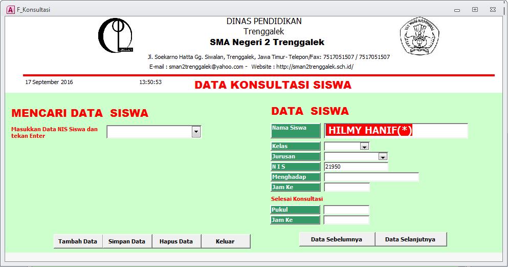 Data Konsultasi Siswa - Aplikasi Bimbingan Konseling Gratis