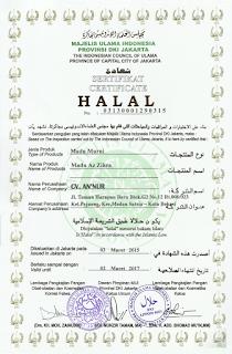 sertifikat halal mui madu super azzikra