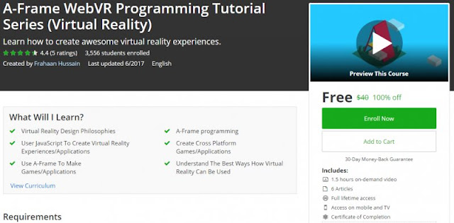 [100% Off] A-Frame WebVR Programming Tutorial Series (Virtual Reality)| Worth 40$