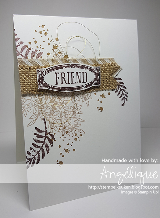 http://stempelkeuken.blogspot.com De Stempelkeuken Awesomely Artistic, Burlap Ribbon, Chocolate Chip, Crumb Cake, Natural Chevron Ribbon, Paper Snips, Soft Suede, Stampin' Dimensionals, Stampin' Trimmer, Whisper White Thick Cardstock