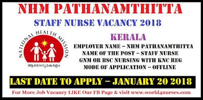 NHM Pathanamthitta 12 Staff Nurse Vacancy 2018