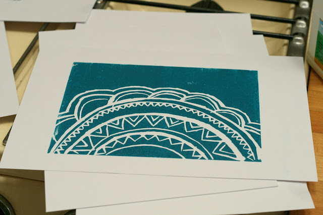 mandala inspired lino cutting print