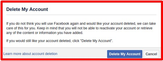 how to delete your facebook account on computer