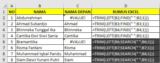 Cara memisahkan nama depan dengan rumus excel 2