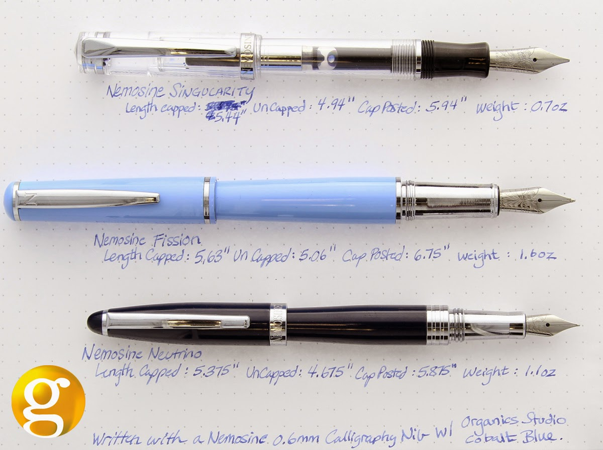 Comparison of Nemosine Singularity Fission & Neutrino Fountain Pens
