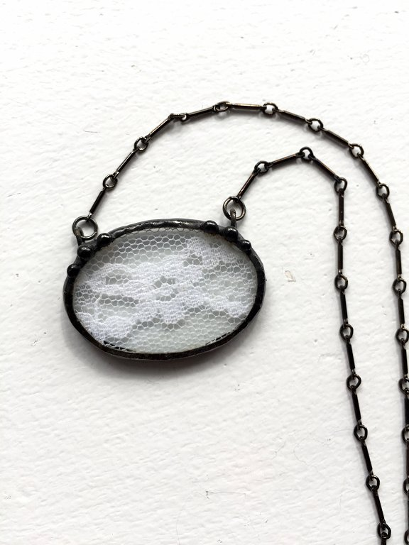 Antique lace jewelry by Laura Beth Love, Dishfunctional Designs