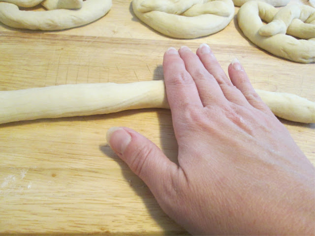 how to roll pretzel dough