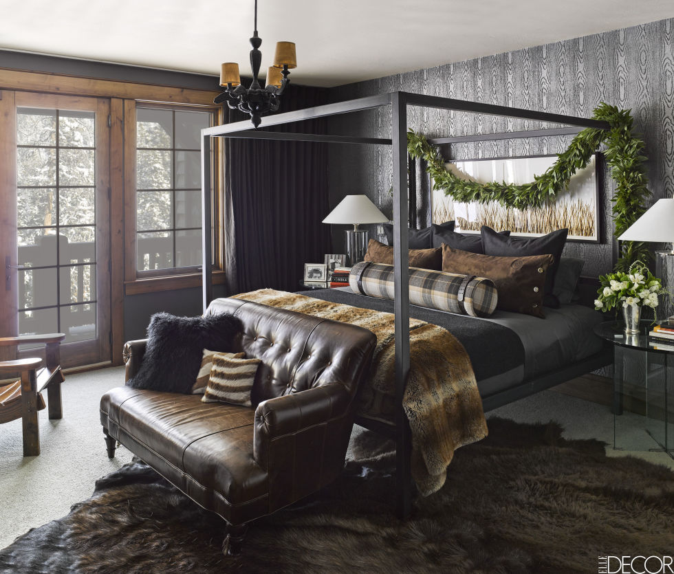 Luxurious bedroom dark walls Ken Fulk Montana ski house halfway house yellowstone Elvis suite leather