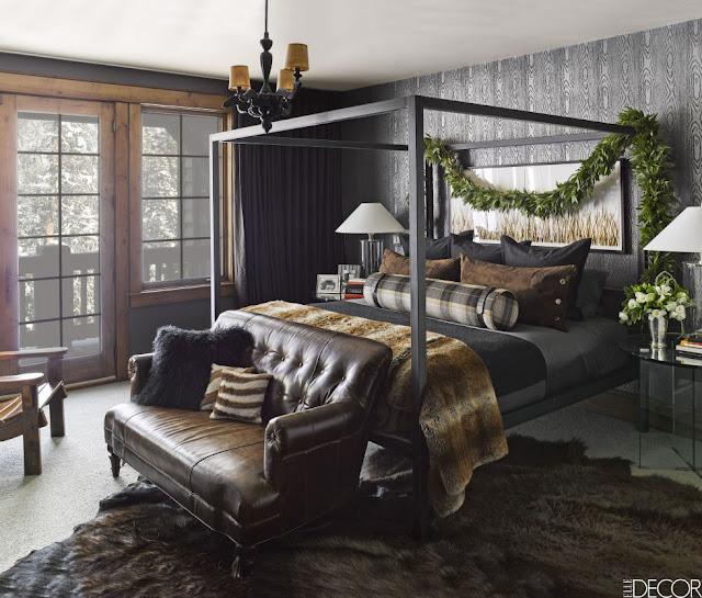 image result for bedroom Elvis Presley guest room masculine ski house in Montana mountains designed by Ken Fulk Halfway House