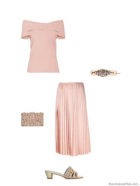 blush top and skirt black-tie event outfit