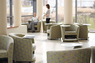 Lobby guest chairs with tablet arms