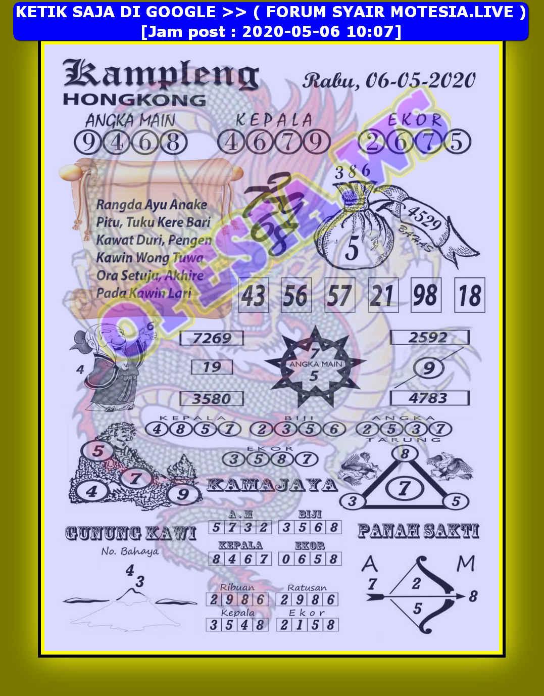 Kode syair Hongkong Rabu 6 Mei 2020 4