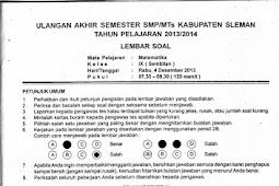 Soal UAS Matematika SMP Kelas 7-9 Semester 1 Sleman