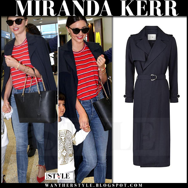 Miranda Kerr in blue maje golti trench coat, red striped tee and red aquazzura allure pumps what she wore model style