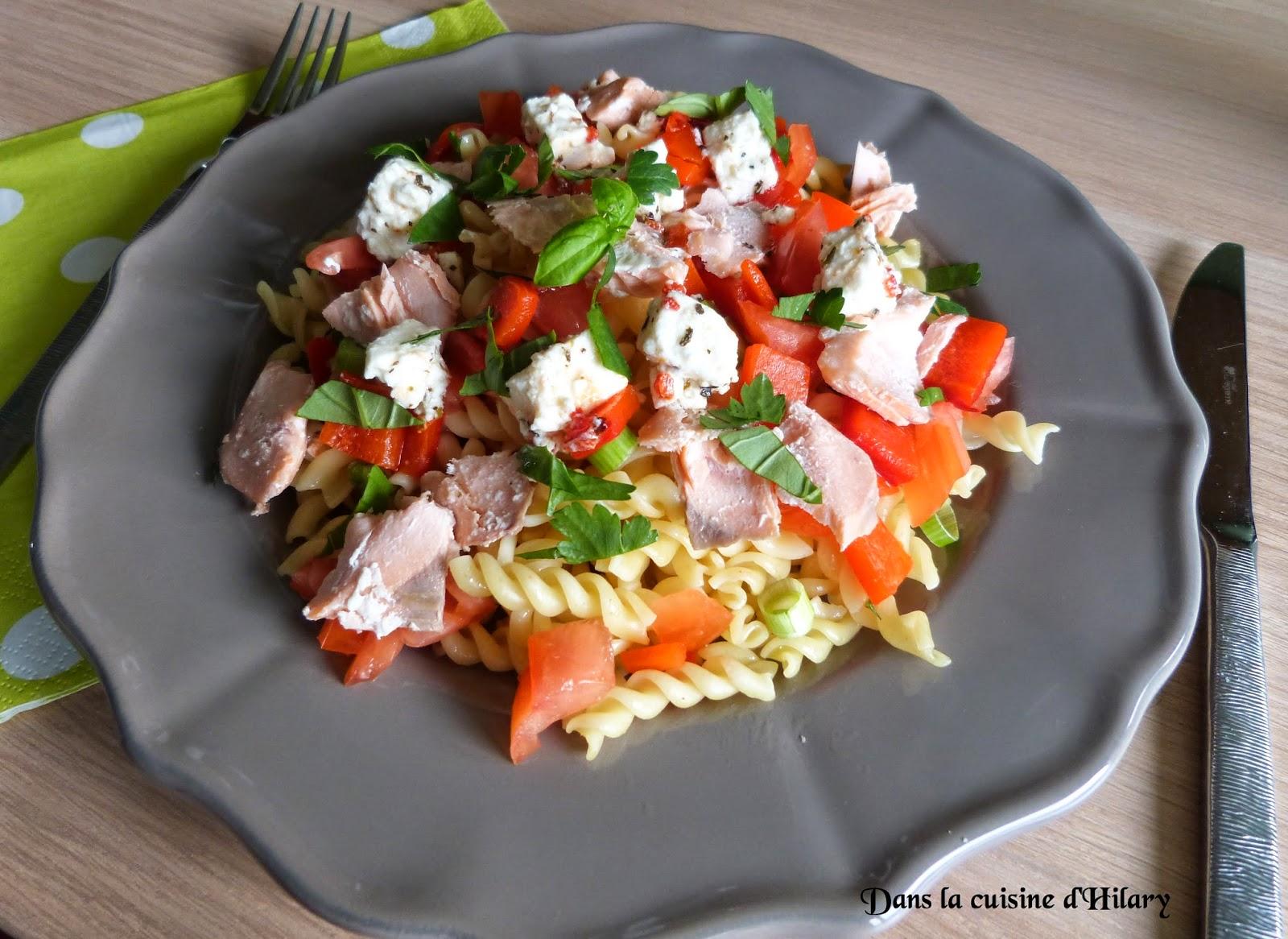 Salade de pâtes au saumon et à la feta