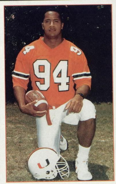Dwayne The Rock Johnson playing college football at the University Of Miami