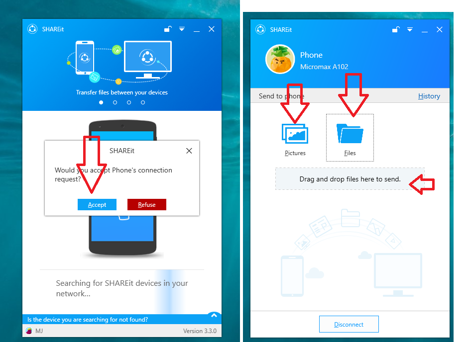 how to wireless send files from iphone to windows 10