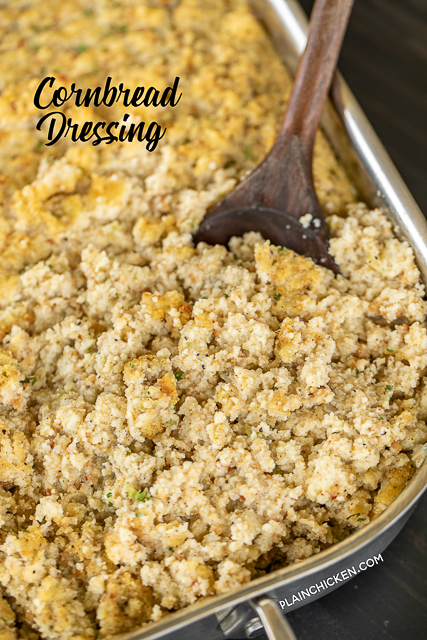 Cornbread Dressing - delicious southern holiday staple. Can make ahead and refrigerate or freezer for later. Makes enough to feed a crowd! Perfect for the holiday meal and leftovers. Homemade buttermilk cornbread, butter, onion, celery, sage, parsley, seasoned pepper, eggs, and chicken broth. A must for your holiday meal! #sidedish #holiday #thanksgiving #christmas #dressing #stuffing