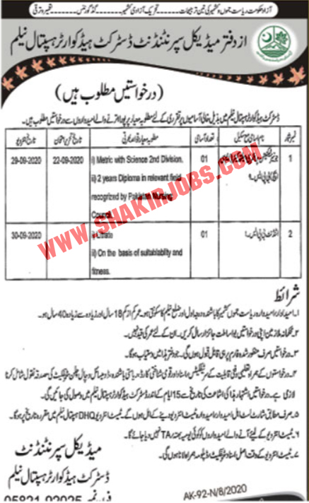Jobs in District Headquarter Hospital Jobs September 2020