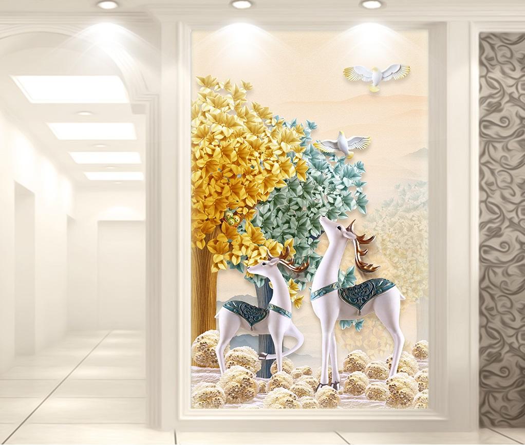 Tranh  3d hoa gạc vàng khố dọc