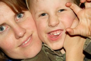 Image: Mom and son - An close, fun moment between mom and son, by David Duncan on Freeimages