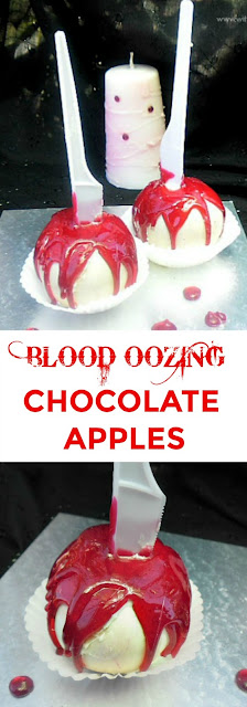 These Apples will have your guests raving for more ! Chocolate covered and drizzled with a quick homemade Hard-Candy {no thermometer needed}