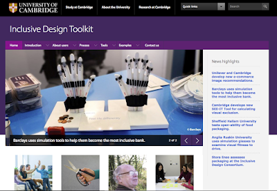 snapshot of the University of Cambridge Inclusive Design Toolkit homepage