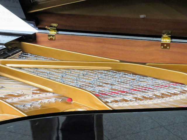 Piano strung with barbed wire at Dorasan Station in the South Korean section of the DMZ
