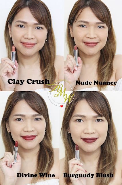 a photo of Maybelline Creamy Matte Lipsticks by Colorsensational Review in shades Nude Nuance , Clay Crush, Divine Wine and Burgundy Blush.