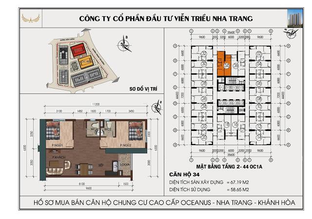 Sơ đồ căn hộ số 34  tòa OC1A Viễn Triều Nha Trang