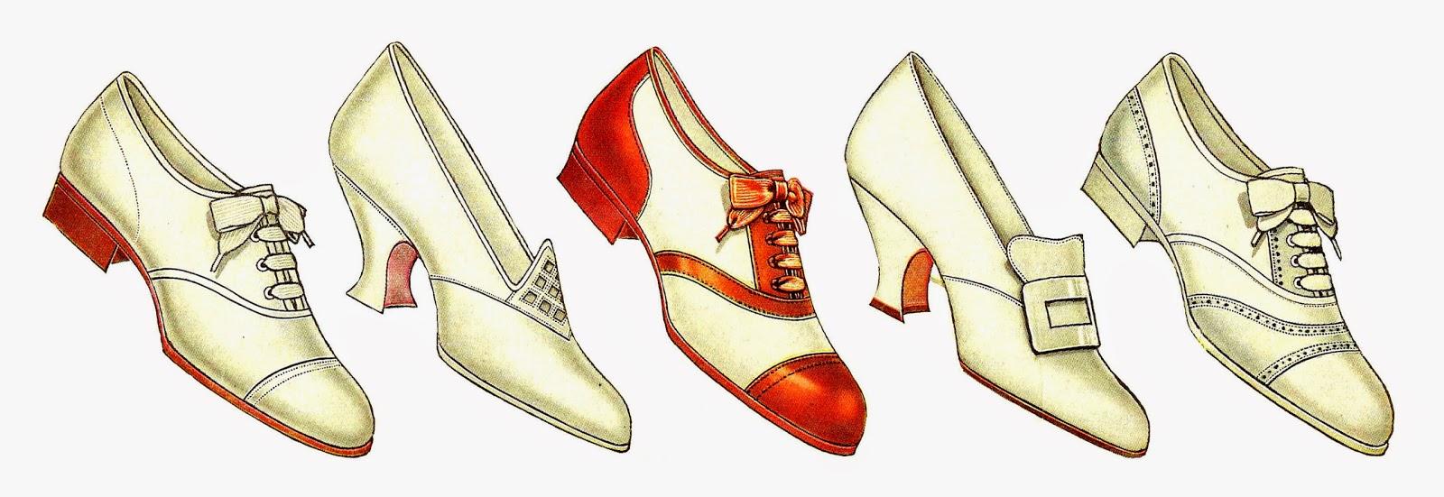 Free Fashion Clip Art: 5 Vintage Women's Shoe Graphics Collage Sheet 1917  Fashion