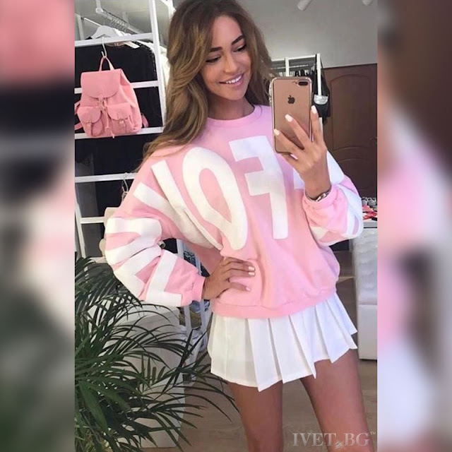 Μακρυμάνικο  ροζ γυναικείο φούτερ NIKOLETA