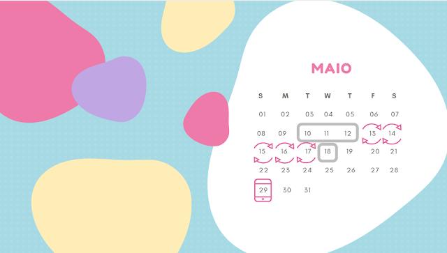 Calendário (tabelinha) onde se marca o dia prevista para ovulação e dias férteis, fazendo o cálculo do périodo fértil