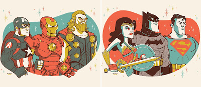 The Avengers & Justice League Screen Prints by Ian Glaubinger