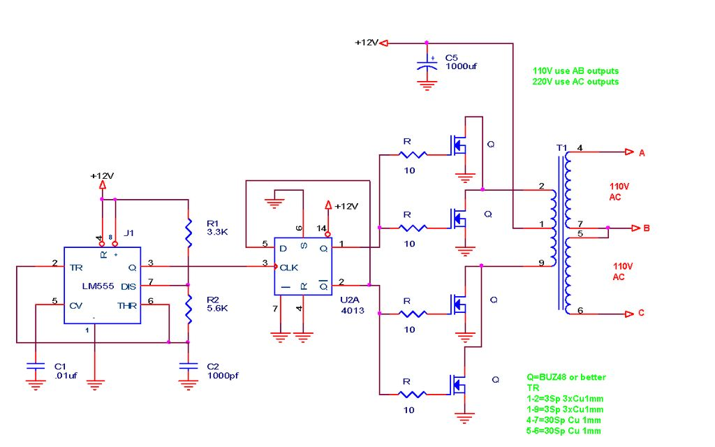 110V220V 500W or more inverter Circuit Diagram